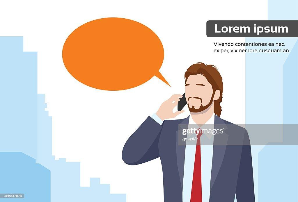 Businessman Smart Phone Talk Chat Bubble Communication