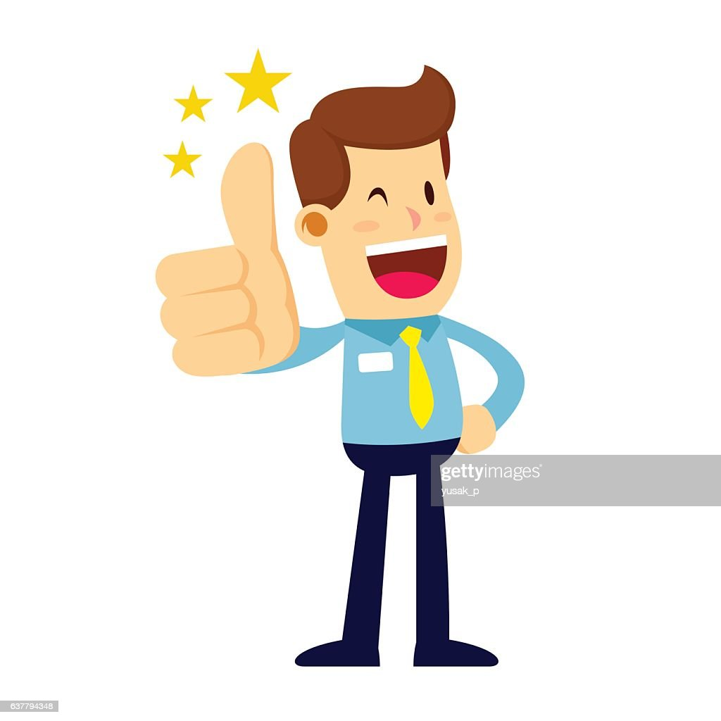 Businessman Smiling and Doing Thumbs Up Hand Sign