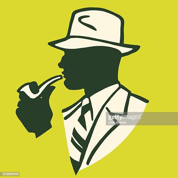 businessman smoking a pipe - fedora stock illustrations