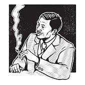 businessman smoking