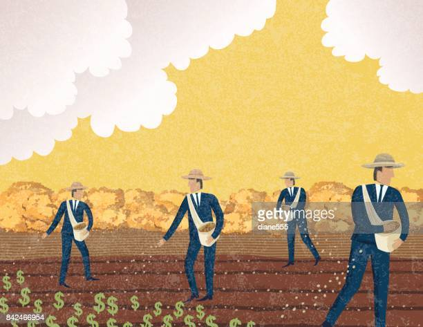 Businessman Sowing Seeds In The Field. Growth Concept