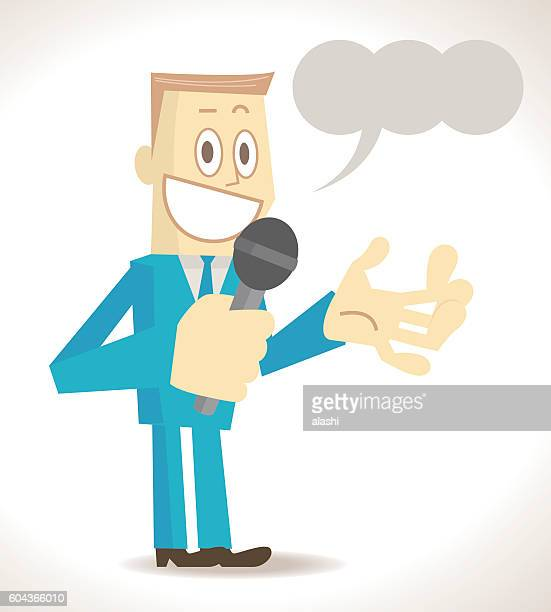 Businessman (Politician, Game Show Host, Presenter, Emcee ) speaking with microphone