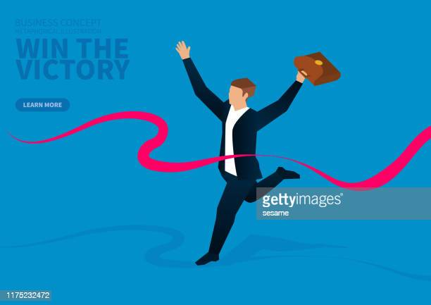 businessman sprints to the finish line to win - glühend stock illustrations