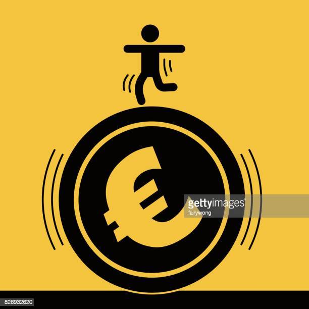 Businessman staged acrobatics on the euro coin