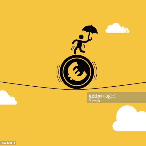 businessman staged acrobatics on the euro coin - european union euro note stock illustrations, clip art, cartoons, & icons