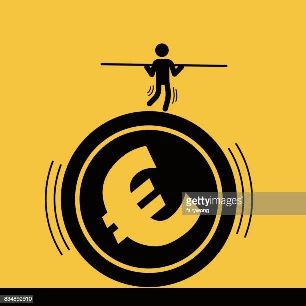 ilustrações, clipart, desenhos animados e ícones de empresário encenado acrobacias sobre a moeda euro - reforma assunto