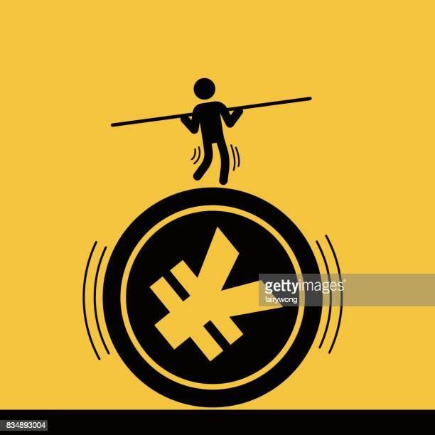 ilustrações, clipart, desenhos animados e ícones de empresário encenado acrobacias sobre a moeda rmb - reforma assunto