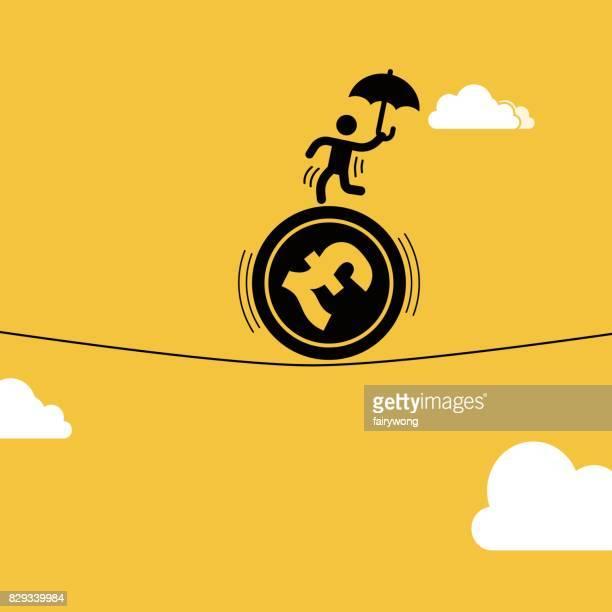 ilustrações, clipart, desenhos animados e ícones de empresário encenado acrobacias sobre a moeda esterlina - reforma assunto