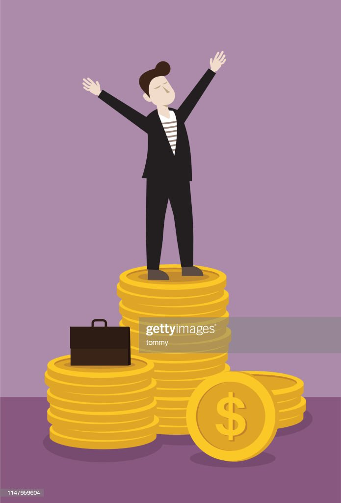 Businessman stand on stack of money : stock illustration