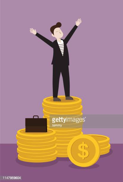 businessman stand on stack of money - cash flow stock illustrations, clip art, cartoons, & icons