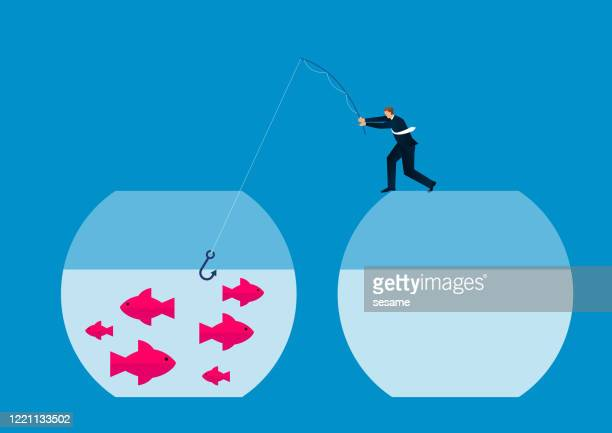 businessman standing and fishing on a fish tank without fish - close to stock illustrations