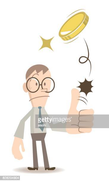 businessman (man, student, teacher) standing flipping a coin (toss up gold currency), thumbs up gesturing - flipping a coin stock illustrations, clip art, cartoons, & icons