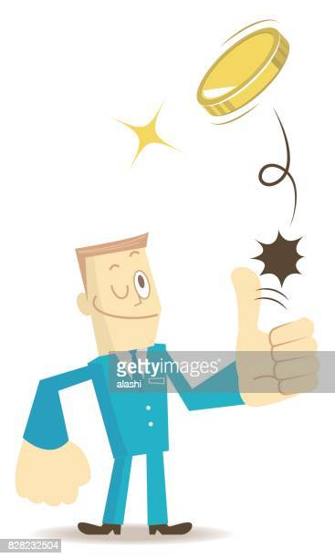 businessman (man, financial advisor) standing flipping a coin (toss up gold currency), thumbs up gesturing - flipping a coin stock illustrations, clip art, cartoons, & icons