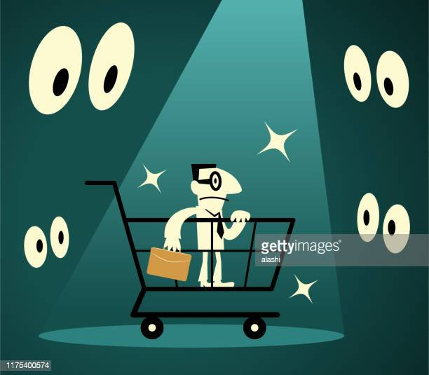 businessman standing in a shopping cart lit by a spotlight surrounded by eyes - retail employee stock illustrations