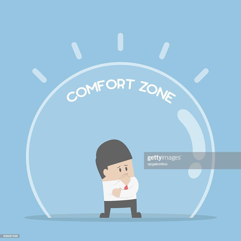 Businessman standing in comfort zone