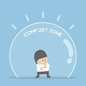 Businessman standing in comfort zone