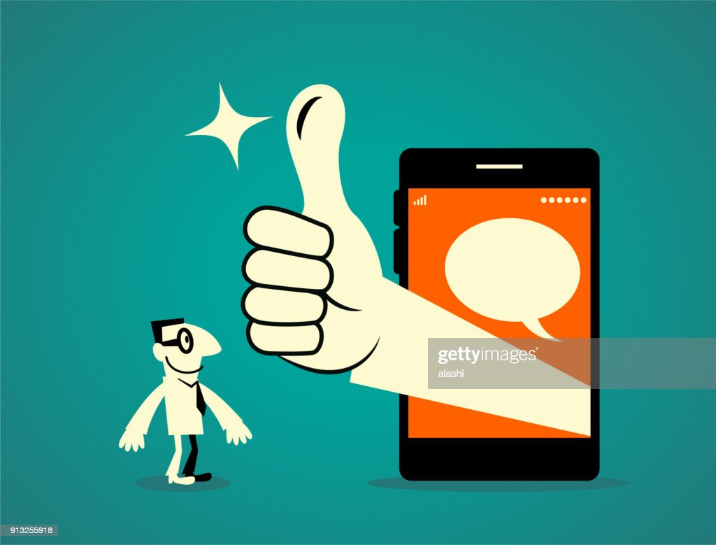 Businessman standing in front of a big smart phone, big hand out from the mobile phone with thumbs up gesture (Good! Great!) : stock illustration