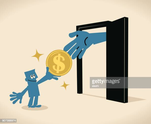 businessman standing in front of a door and giving a dollar sign coin to a big hand out from the door (door money, admission fee, entrance fee, gate money, bribing) - fee stock illustrations