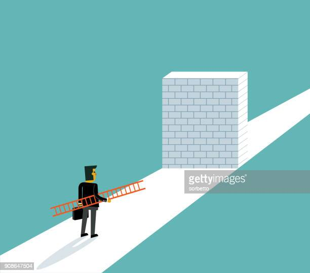 businessman standing in front of a large brick wall - problems stock illustrations