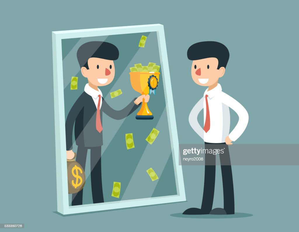Businessman standing in front of mirror and see himself