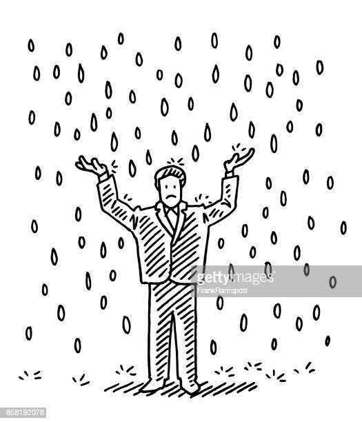 businessman standing in the rain drawing - bad luck stock illustrations, clip art, cartoons, & icons