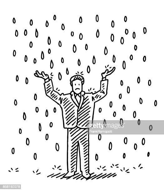 ilustraciones, imágenes clip art, dibujos animados e iconos de stock de empresario de pie bajo la lluvia dibujo - hombre llorando