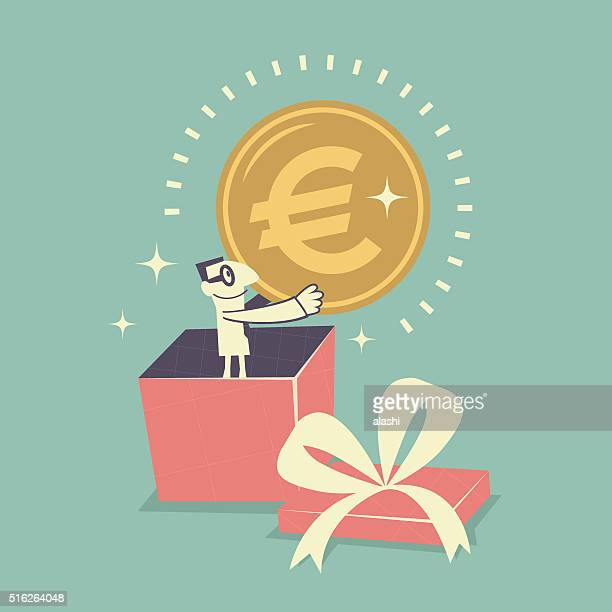 Businessman standing inside gift box, holding Euro currency sign coin