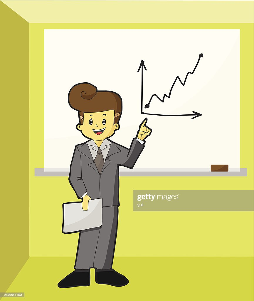 Businessman standing near a whiteboard and point to growth graph : Vectorkunst
