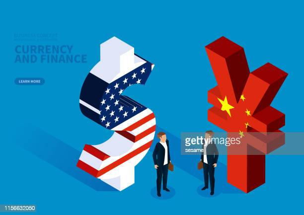 Businessman standing next to dollar and businessman standing beside Chinese currency symbol