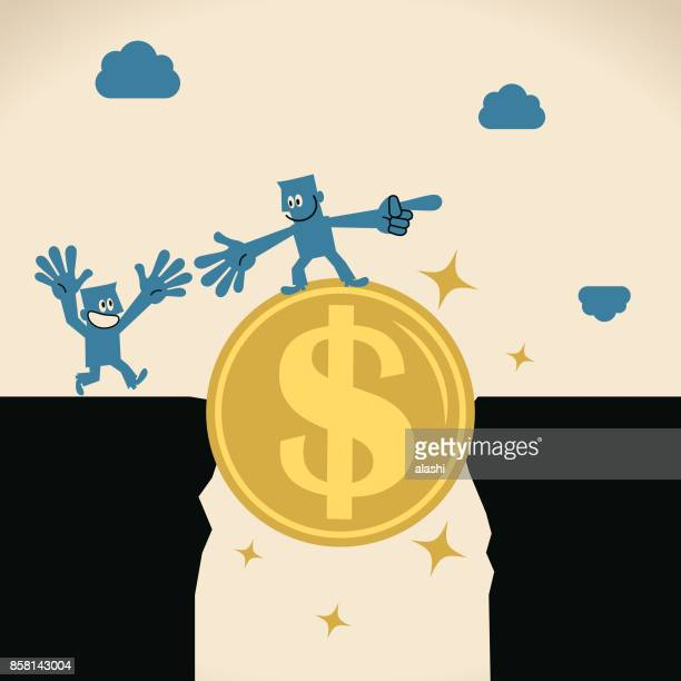 Businessman (Leader) standing on a big dollar sign currency bridge and helping another man to cross cliffs (abyss)