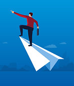 Businessman standing on a paper airplane flying to the sky