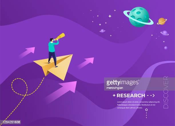 宇宙に飛んで紙飛行機の上に立つビジネスマン - 探求点のイラスト素材/クリップアート素材/マンガ素材/アイコン素材