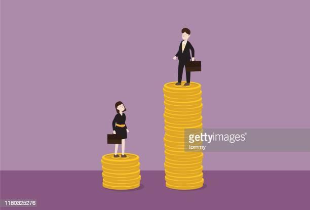 geschäftsmann steht auf einem stapel der münze höher als eine geschäftsfrau - geld verdienen stock-grafiken, -clipart, -cartoons und -symbole