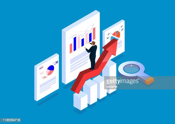 illustrazioni stock, clip art, cartoni animati e icone di tendenza di businessman standing on arrow analyzing page data - big data