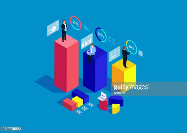 businessman standing on bar chart analyzing and stats - stock certificate stock illustrations