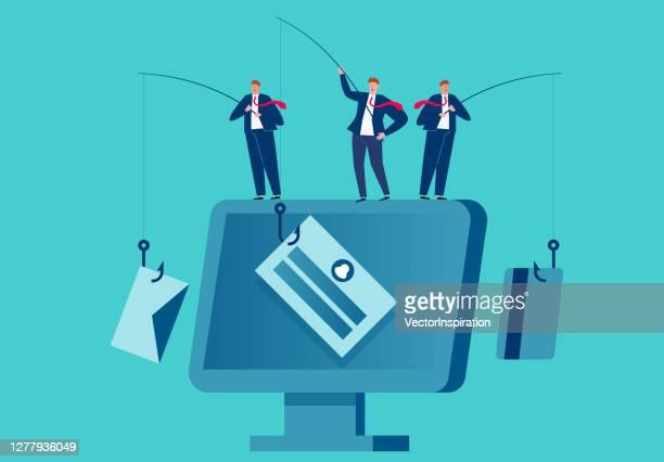 businessman standing on computer phishing stealing network information - phishing stock illustrations
