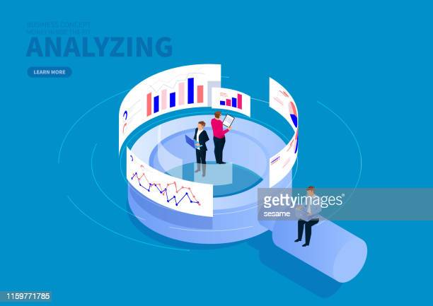 illustrazioni stock, clip art, cartoni animati e icone di tendenza di businessman standing on magnifying glass analyzing data - big data
