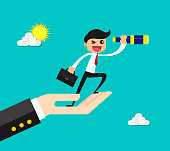 Businessman standing on supporting hand looking forward through a telescope to searching business opportunity. business concept vector illustration.