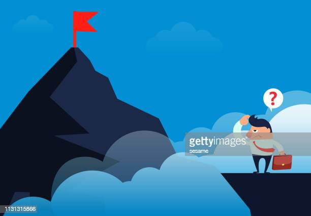 businessman standing on the cliff and looking at the target flag on another mountain top - crag stock illustrations, clip art, cartoons, & icons