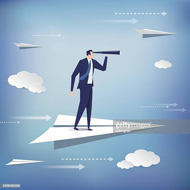 businessman standing on the paper plane - business travel stock illustrations, clip art, cartoons, & icons