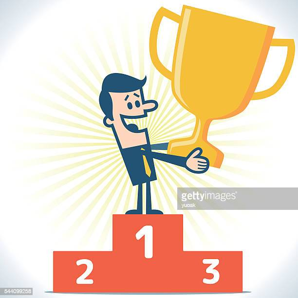 businessman standing on the winning podium - winners podium stock illustrations