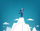 Businessman standing on top of the mountain using telescope looking for success. Concept business illustration. Vector flat