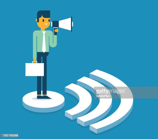 Businessman standing on WIFI