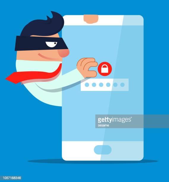 businessman stealing data password - stealing stock illustrations