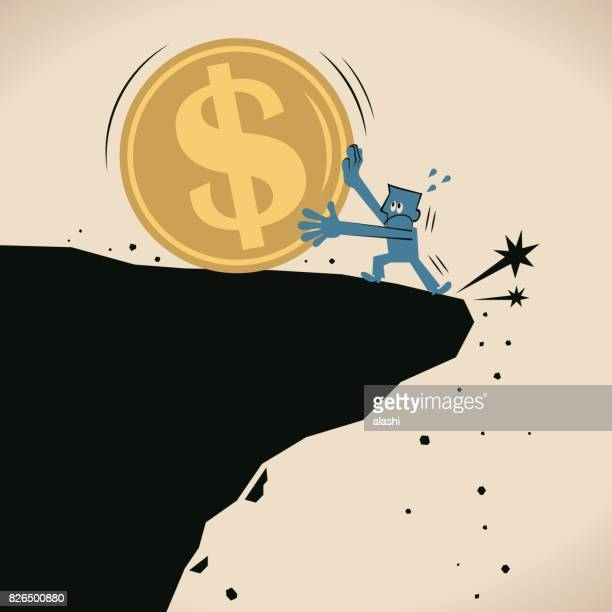 businessman (man) stopping a big us dollar sign currency coin falling off a cliff - crag stock illustrations, clip art, cartoons, & icons