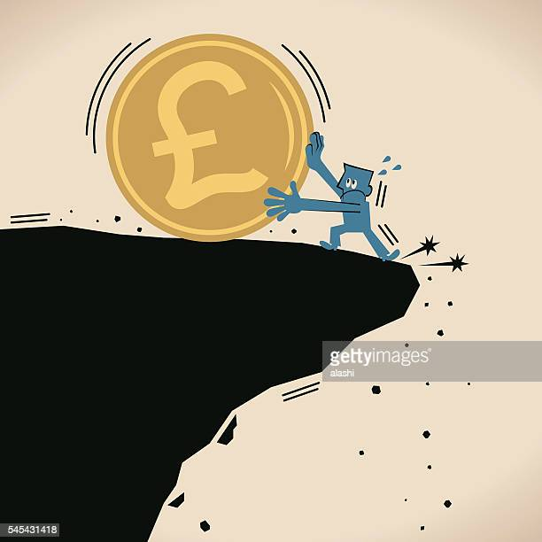 businessman stopping big pound currency coin falling off a cliff - brexit stock illustrations, clip art, cartoons, & icons