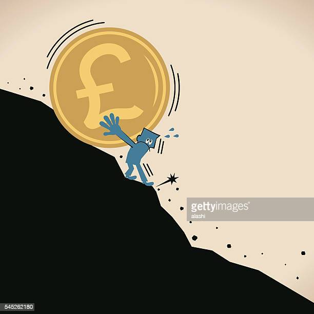 businessman stopping the recession danger falling pound currency coin (landslide) - brexit stock illustrations, clip art, cartoons, & icons