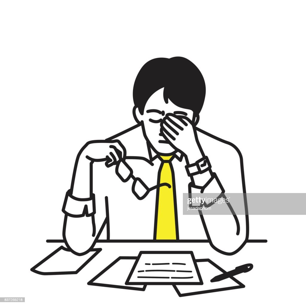 Businessman stressed at his workplace