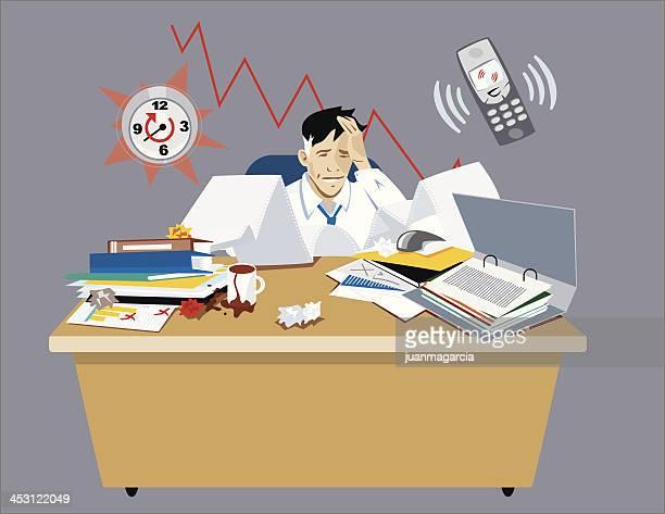 ilustraciones, imágenes clip art, dibujos animados e iconos de stock de empresario ha destacado en su oficina. - hombre llorando