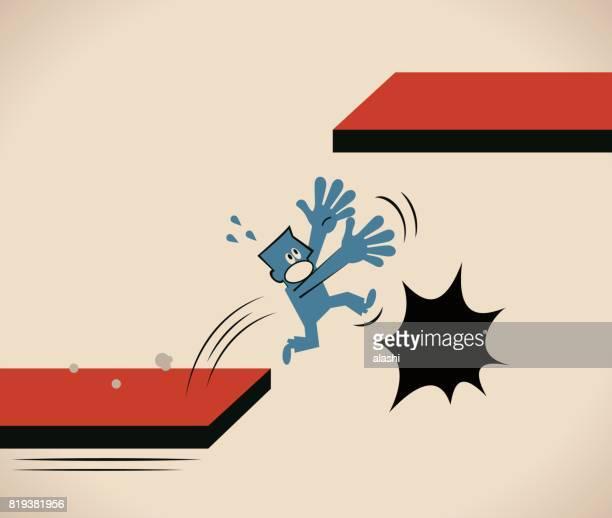 実業家 (男性) 障害が高いボードまたは方法 (成功するリスク) までジャンプに苦労しています。